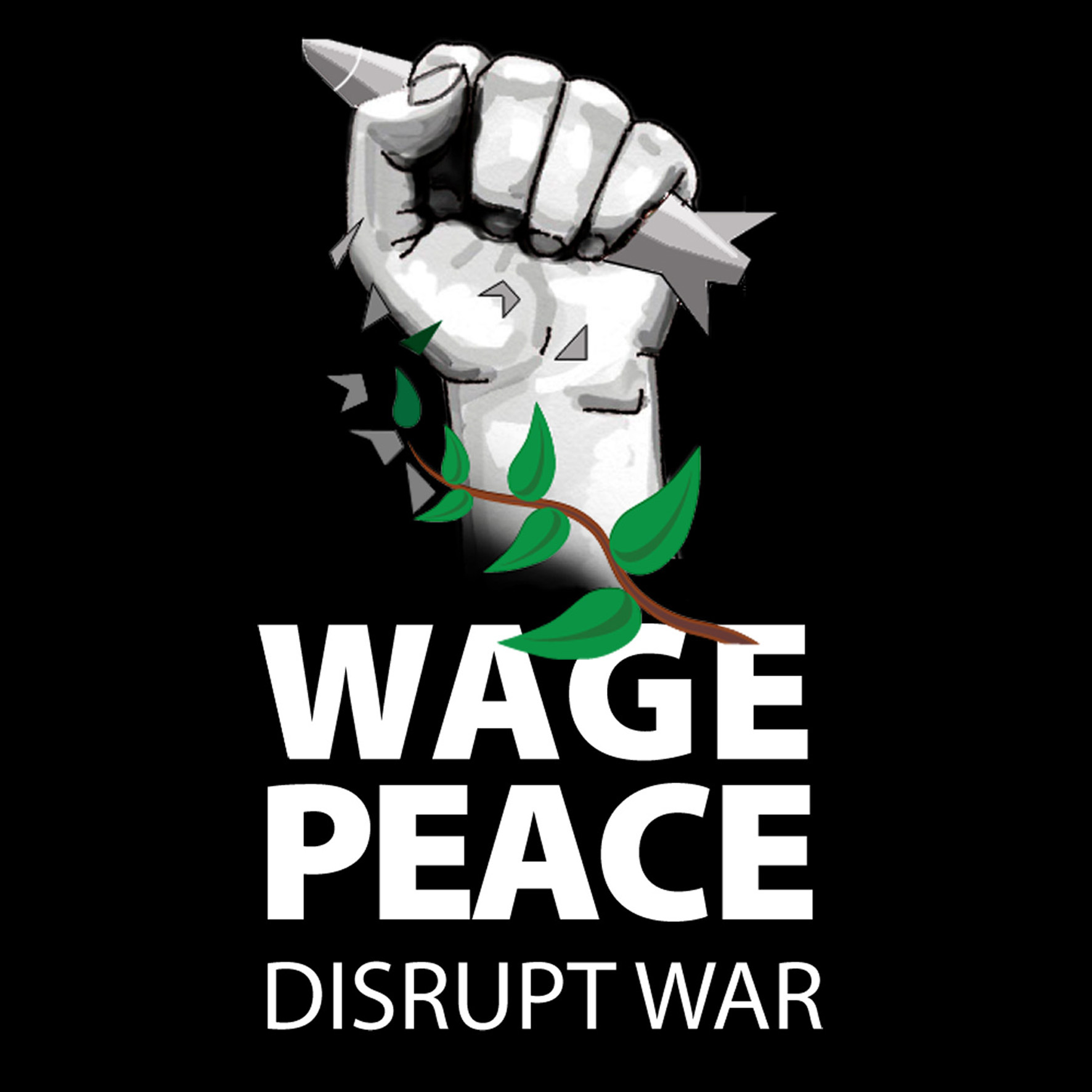 Wage Peace Logo - power symbol - clenched fist crushing bomb turning into peace olive branch